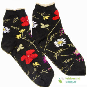 Nogavice – Flower Field- Črna