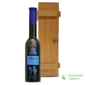 Vino Modra frankinja iz sušenega grozdja Kolednik sladko KZ Metlika lesen zabojček stn. 0,25L