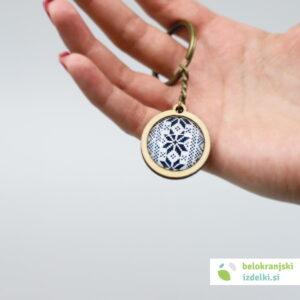 aLesen obesek za ključe z belokranjskim motivom | moder